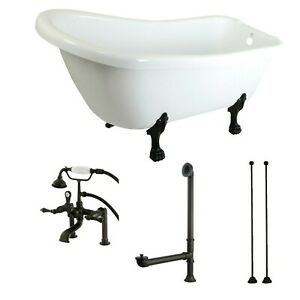 Kingston Brass KTDE692823C5 Aqua Eden Tub With Faucet Drain And Lines Combo ...
