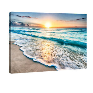 Canvas Wall Art Print Painting Picture Home Decor Sea Beach Landscape Waves $49.90