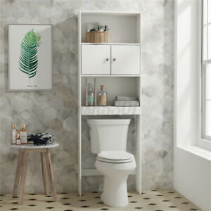 Bathroom Over Toilet Cabinet Space Saver Storage Shelf Rack Wood Organizer 2Door