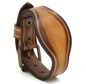 MEN Women Curved Vintage Genuine Leather Wristband Leather Bracelet 6.5quot; 8.5quot;