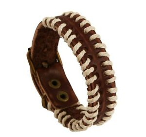 Men Women Weave Rope Brown Genuine Leather Belt Wristband Leather Bracelet