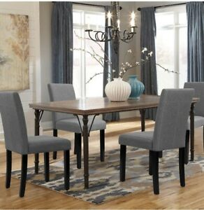 Walnew Dining Chairs Armless Urban Style Home Fabric Wood Legs Gray Set of 4
