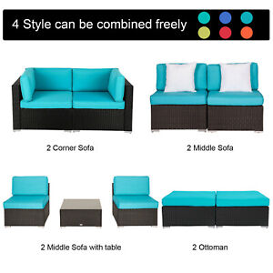 4 Type Rattan Wicker Sofa Set Tea Table Sectional Patio Couch Ottoman Outdoor