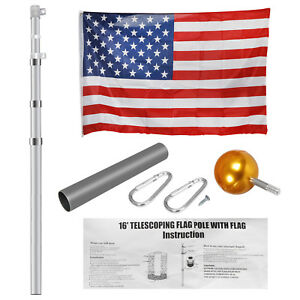 Aluminum 16'20'25' Sectional/Telescopic Flagpole Kit Outdoor Pole+1PC US Flag