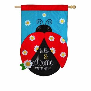 **OPEN FLAGG** Hello and Welcome Friends 158725 Applique HOUSE Flag 28quot; x 44quot;