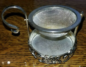 Tea Strainer A Special Place Silver Plated 1999 Swinging Basket Stand $15.00