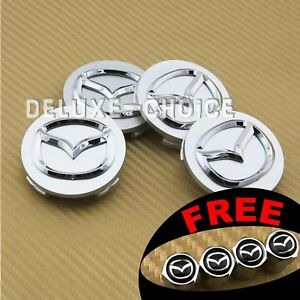 SET OF 4 SILVER FINISH CHROME LOGO ALLOY WHEEL CAP HUB CENTER 56mm 2.25