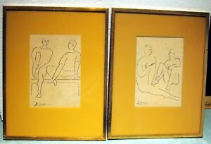 PICASSO PAIR RARE BALLET DANCERS BLACK INKINK WASH SIGNED MAGNIFICENT DETAILS