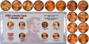 1982 PD Lincoln Cent 7 Variety Set Complete Uncirculated Penny Set with Card