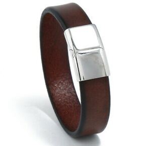 8.7quot; MEN Women Brown Cowboy Genuine Leather Wristband Leather Bracelet