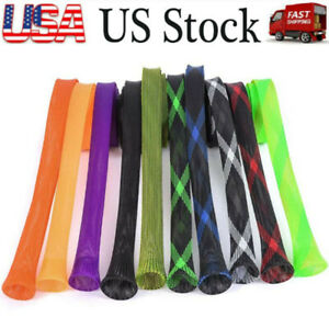 US 10PCS Fishing Rod Covers Fish Sleeve Socks Protector Pole Braided Mesh Gloves