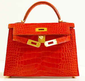 HERMES Kelly Sellier Size 20 Red Braise Crocodile leather GOLD HW Brand New