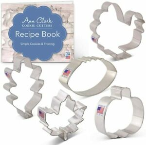 Ann Clark 5 pc. Fall Thanksgiving Cookie Cutter Set with Recipe Book