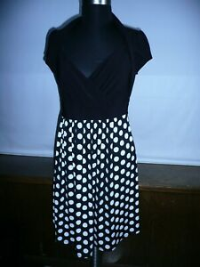 DOTS WOMENS BLACK WHITE DRESSES SIZE L MADE IN USA