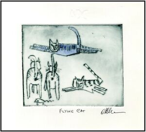FLYING CAT amp; Mouse Original Watercolor ETCHING Signed Limited Edition Art Print $34.00