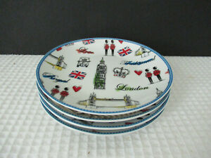 222 Fifth LONDON TOUR Set of 4 round 6 1 4 appetizer plates NEW.