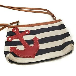 Brighton Nautical Navy White Stripe Canvas Red Leather Anchor Small Crossbody