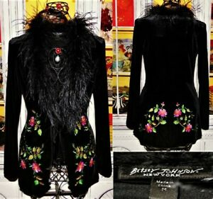 Vtg 90s Betsey Johnson Coat VELVET Black Embroider Jacket Ostrich Victorian M 8