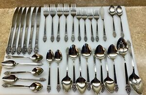 34 PCS Oneidacraft Deluxe Nordic Crown Silverware Forks Spoon Knives Serving VGC