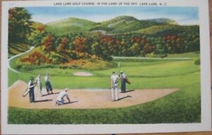 Lake Lure NC 1940 Linen Postcard: Golf Course in the Land of the Sky