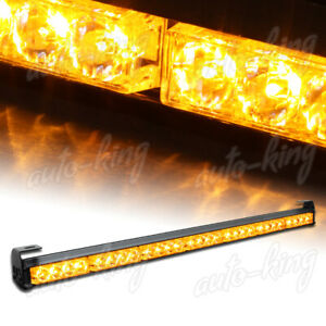 31.5 AMBER LED TRAFFIC ADVISOR EMERGENCY WARN FLASH STROBE LIGHT BAR UNIVERSAL