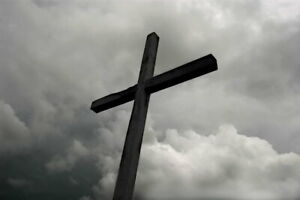 106843 Wooden Cross Under Storm Clouds Bamp;W Photo Art Decor LAMINATED POSTER US $33.95
