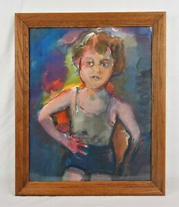 Vintage Abstract Modern Art Portrait Watercolor Painting of Child Boy Signed $35.00