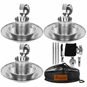 Bisgear 27pcs Stainless Steel Tableware Mess Kit Plate Bowl Cup Spoon Fork Knife