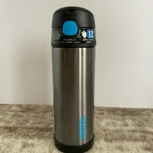 Thermos FUNtainer 16 Ounce Bottle Stainless Steel Charcoal New