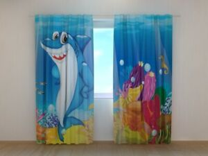 3D Photo Curtain Printed Fanny Shark kids print image Wellmira Made to Measure