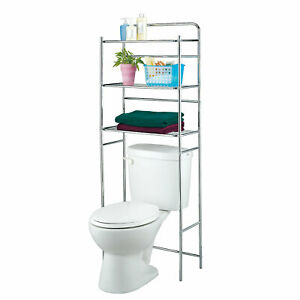 3-Tier Metal Bathroom Organizer Rack Over The Toilet Shelf Space Saver, Silvery