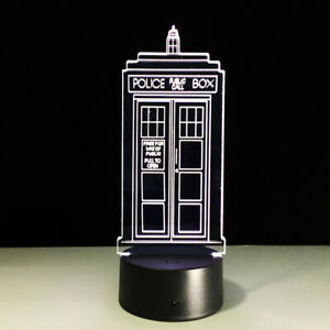 Night Light Acrylic Touch Switch Lamp England Police Box Telephone Booth Gift