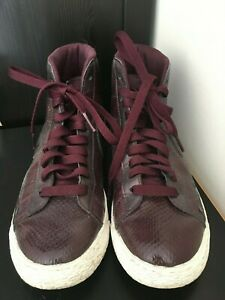 Nike Purple Leather Womens High Tops sneakers Size 7 fits 7.5 Pre owned $45.00