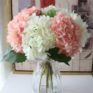 3 Bouquets Artificial Hydrangea Flowers for Home Wedding Room Hotel 3 color
