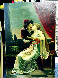 VICTORIAN PAINTING ROMEO amp; JULIET UNSIGNED OIL ON CANVAS OR PAPER GLUED ON BOARD $995.00