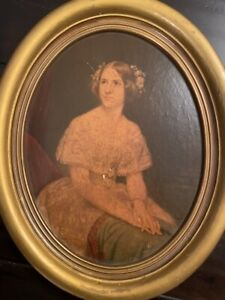 Vintage Wood OVAL Framed OIL Painting Woman Lady $50.00