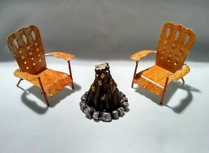 Fairy Garden 3-pc Set Campfire with Chairs - Great for Gnome or Doll Houses too!