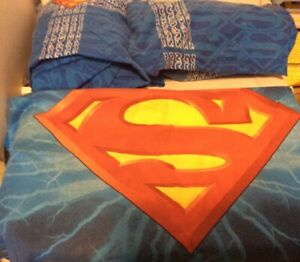 Superman 3 Pc. Twin Bed Flat, Fitted & Pillowcase Vintage