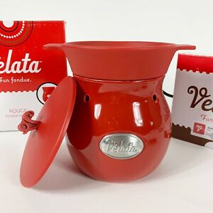 NEW Fondue Warmer Scentsy Velata Red Glossy Warmer NO Flame Set With Lid