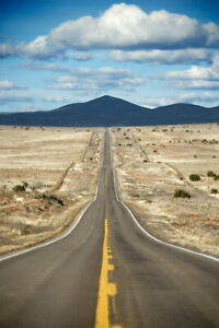 103362 Long Highway Through Desert Landscape in Texas Decor LAMINATED POSTER CA C $45.95