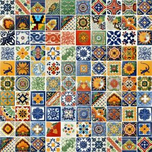 SPECIAL SALE 100 ASSORTED 4x4 MEXICAN TILES CERAMIC HANDMADE TALAVERA TILES #001