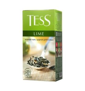 TESS LIME Green Tea with Citrus Peel 25 Tea Bags in Foil Sachets Russian