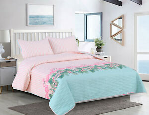 King or Full/Queen Oversized 3-pc Striped Flamingo Quilt Bedding Set, Pink Blue
