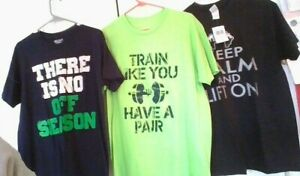 LOT Weight Lifters Shirt SET OF 3 Great Prints Great Gym Shirts Great deal NEW $6.50