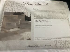 SFERRA  100% Long Staple Cotton   Solid Sateen Italian King Pillowcases White