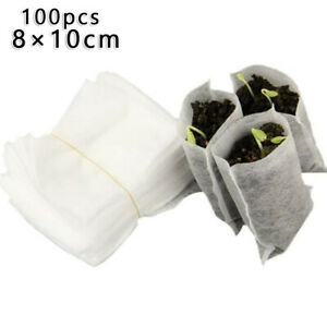 100X Biodegradables Non-Woven Seedling Grow Bags Planting Flower Vegetable Hot