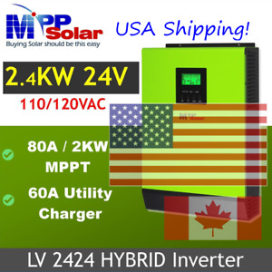 Shps 15 Jun.Hybrid PIP LV2424 2400W 24V 120V240V Inverter Split Phase(2 needed)