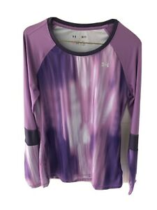 Under Armour Women's L S Purple Fitted Athletic Running Training Tennis Shirt Sm $16.99