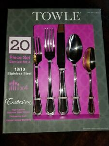 towle 18/10 Stainless Steel 20 piece silverware setting for 4