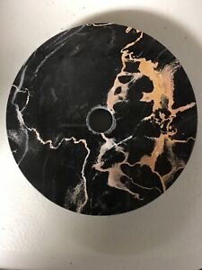 """Vintage 4 """"Round Black Marble Lamp Base for Restoration Made in Italy : NOS $6.00"""